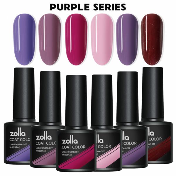 Set 6 Oje Semipermanente Zolla 8ml - Purple Series